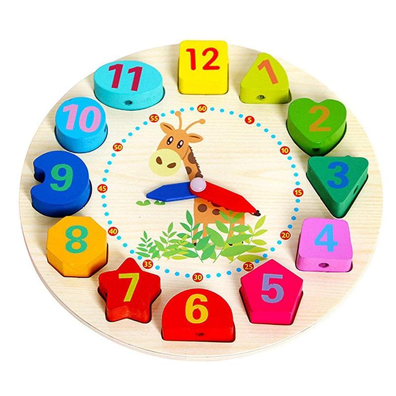 Educational Digital Analog Numbers Wooden Learning Clock ...