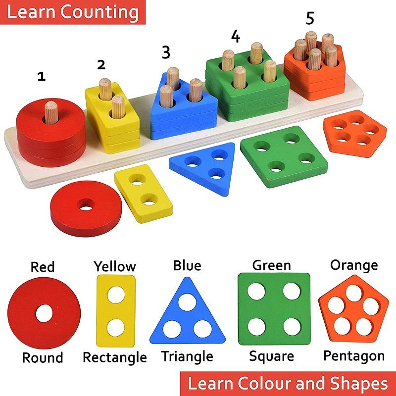 Wooden Intellectual Geometric Shape Matching Five Column ...